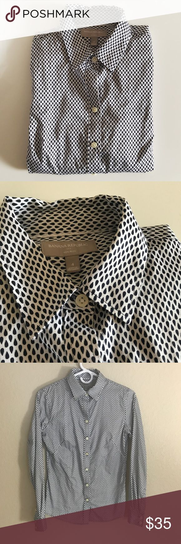 BR women's shirts Button down shirts / non iron shirts / size : 4 / navy & white color / in excellent condition (new without tag) Banana Republic Tops Button Down Shirts