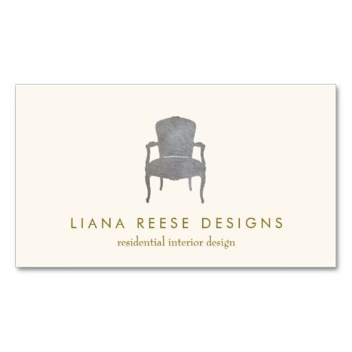 Interior Design  French Chair Logo Business Card. Great card for interior designers, furniture stores, furniture refinishers, antique dealers and more. #GreatBusinessCardMakers