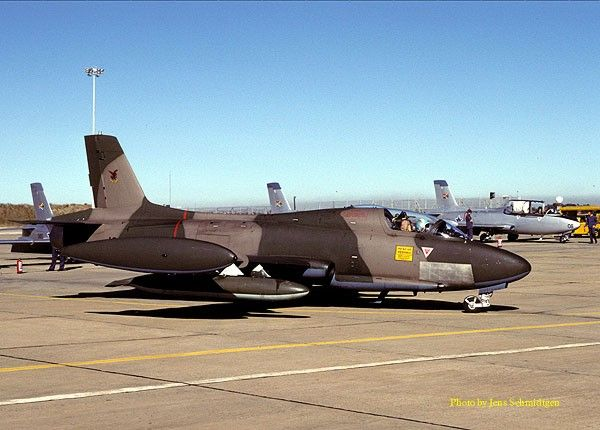 South African Air Force Aeromacci Atlas MB326M Impala MkII, No1027, at Bloemspruit, 1997.