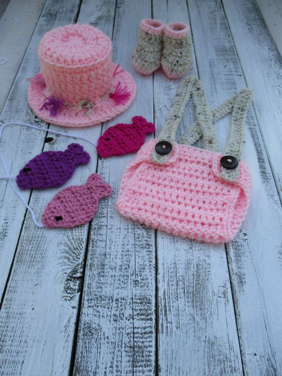 Crochet Baby Girl Fisherman Outfit Crochet Fishing Outfit ...
