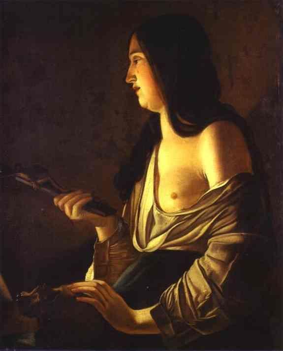 Repenting Magdalene, also calledMagdalene in a Flickering Light - Georges de la Tour