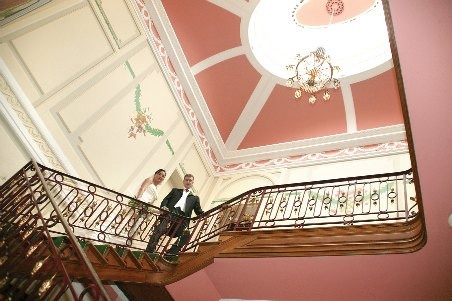 The wonderful sweeping staircase at Ringwood Hall Hotel. The wedding venue is in Chesterfield in Derbyshire