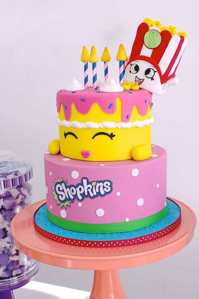 Incredible cake at a Shopkins birthday party! See more party ideas at CatchMyParty.com!