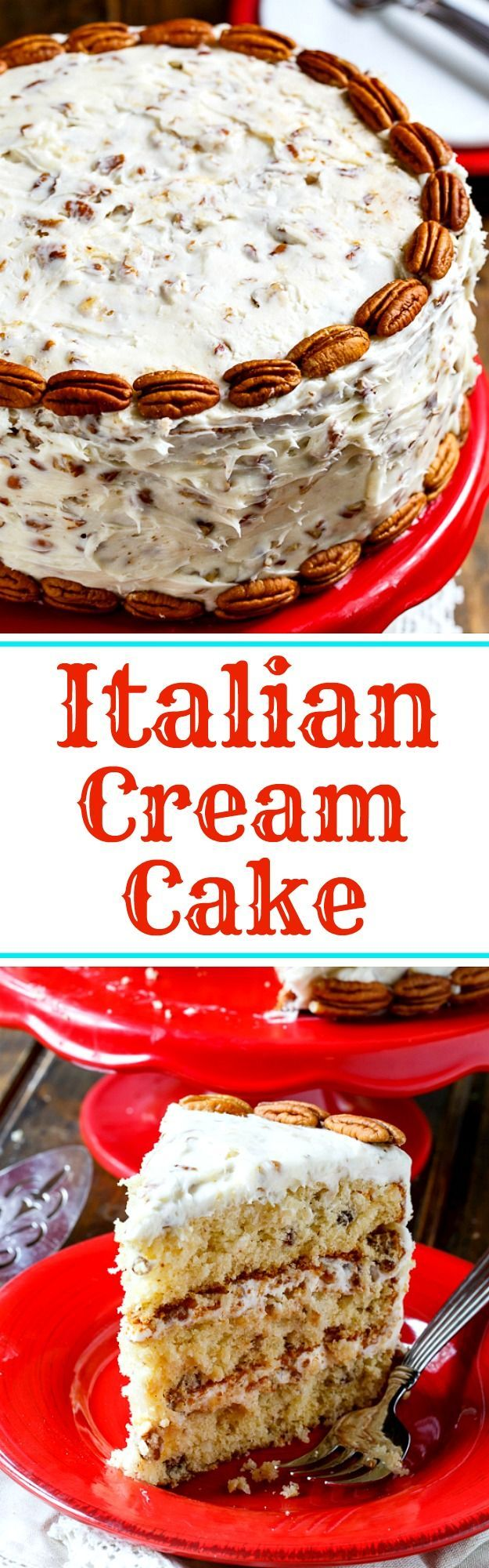 Italian Cream Cake has three layers of moist cake covered in cream cheese frosting with plenty of coconut and pecans. It's not hard at all to make and is perfect for a holiday celebration.