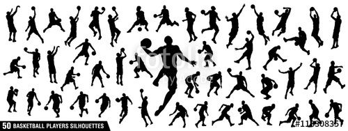 "Download the royalty-free vector ""Vector set of Basketball players silhouettes…"
