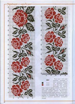 gráfico ponto cruz fácil com apenas duas cores vermelho rosas