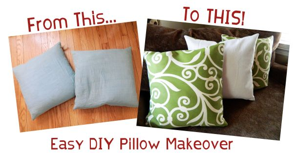 Makeover an old throw pillow. Cheap and easy project for a basic sewer!