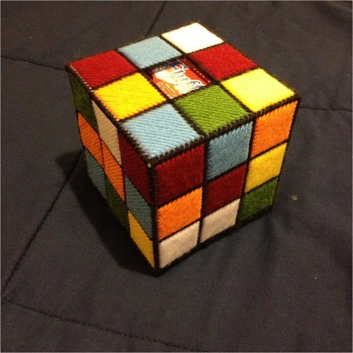 Rubiks Cube Tissue Box, Style 1 by K8 Bit Hero eclectic accessories and decor