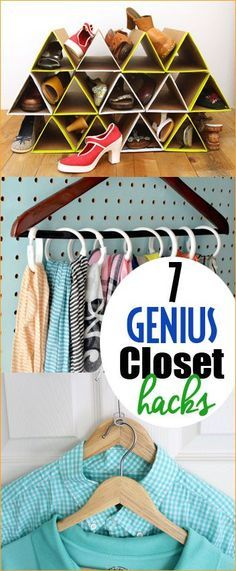 7 genius Closet Hacks.  Turn your tornado closet into a organized room.  Clothing hacks to keep small closets organized.  Shoe organization, scarf organization and shared closet tips and tricks.