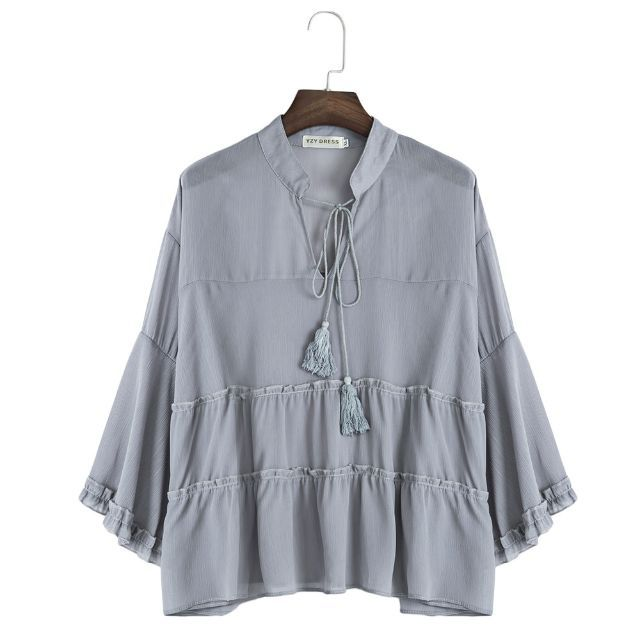 Colour: SMOKY GRAYSIZE:  XL/2XL/3XL/4XL/5XL Estimated Delivery 7 to 9 DaysTracking number available in 3 days time.Material: Polyester Fabric Type: Chiffon Clothing Length: Regular Sleeve Length: Half Sleeve Type: Flare Sleeve Collar: V-Neck Pattern Type: Solid Style: Casual Elasticity: Nonelastic Weight: 0.219 kg Package Contents: 1 x ShirtPlease Note:Due to possible physical differences between different monitors (e.g. models, settings, color gamut, panel type, screen glare, etc), the…