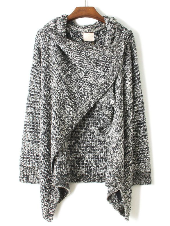 Grey+Draped+Neck+Long+Sleeve+Loose+Sweater+US$40.66