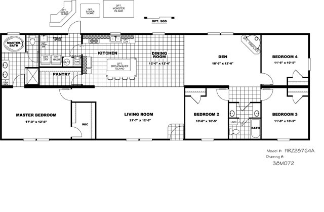 Clayton 4 2 doublewide manufactured home home plans Double wide floor plans with basement