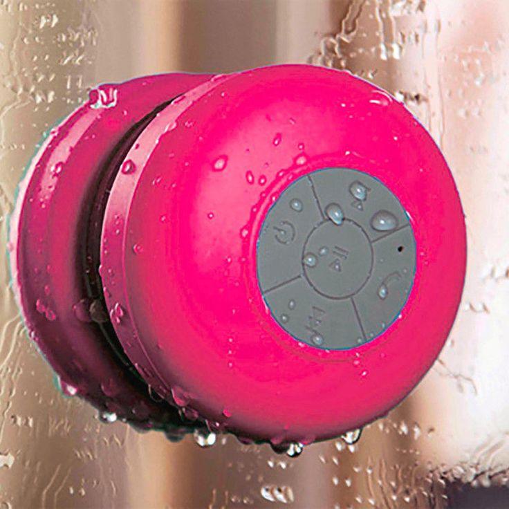 Wireless Shower Handsfree Mic Suction Chuck Speaker Pink