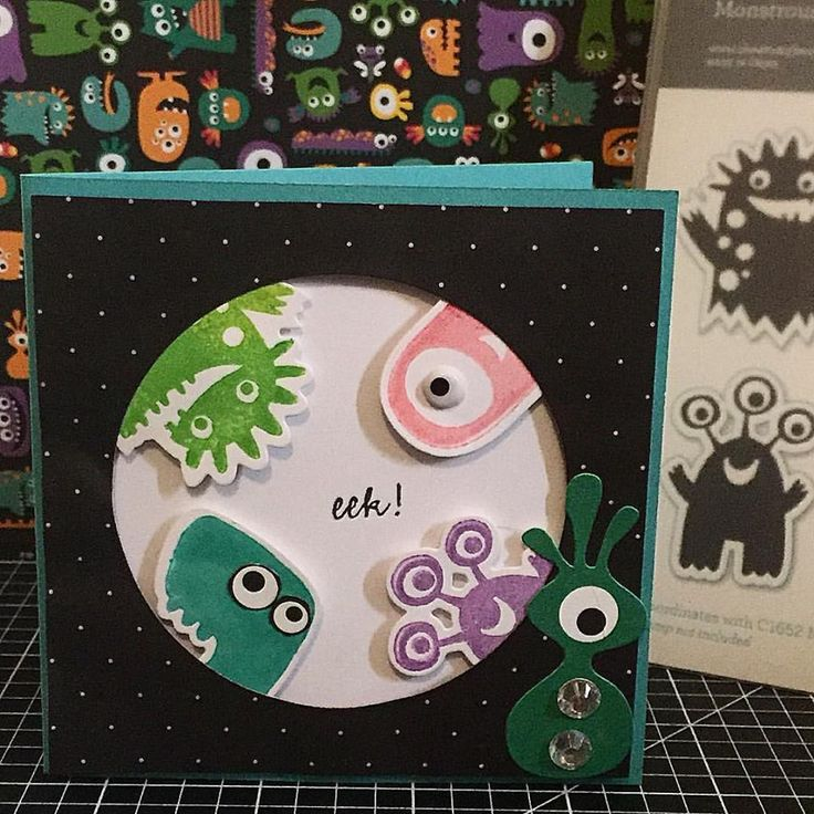 Eek Birthday Card: The Close To My Heart Monstrous Halloween Thin Cuts Bundle (Z4006) & the new Jeepers Creepers (X7211B) paper pack. www.maz.closetomyheart.com.au