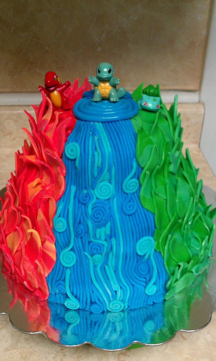Pokemon cake...fire.water.leaf.first generation.