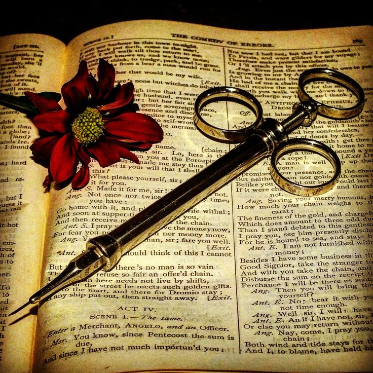 A antique morphine syringe posed in artistic style by me on a antique book of Shakespeare and a pretty flower