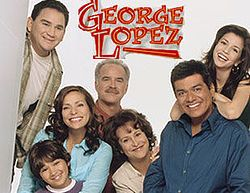 Cast of George Lopez (from left to right), Valente Rodriguez as Ernie Cardenas, Constance Marie with Luis Armand Garcia as Angie and Max Lopez, Emiliano Díez as Vic Palmero, Belita Moreno as Benny Lopez, George Lopez and Masiela Lusha as Carmen Lopez.