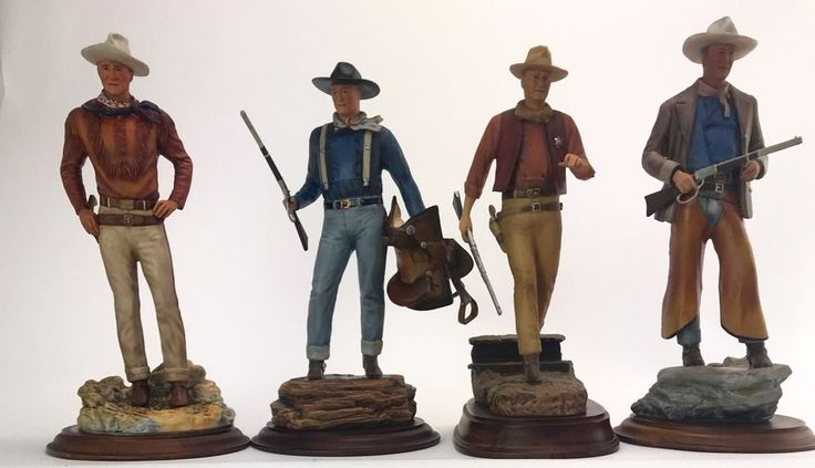 FRANKLIN MINT COMPLETE SET OF FOUR JOHN WAYNE FAMILY PRESENTS PORCELAIN STATUES  #TheJohnWayneFamily