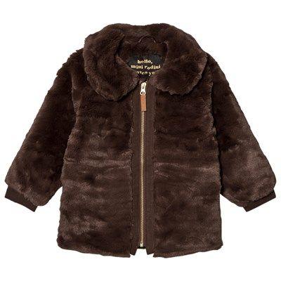 Mini Rodini - Faux Fur Jacket Brown - Babyshop.no