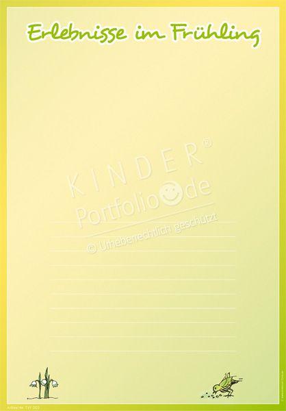 """Kindergarten Portfolio Vorlage """"Erlebnisse im Frühling"""""""