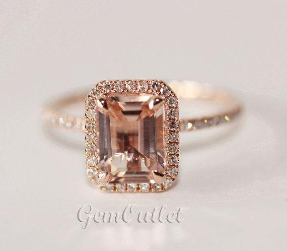 Wedding Ring Morganite Ring Emerald Cut Engagement Rings Rose Gold