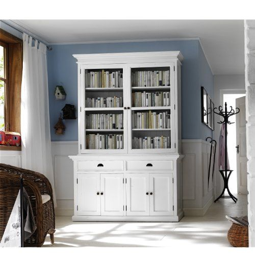 HALIFAX White Mahogany Hutch Buffet With Double Glass Door Cabinets Distressed Finish