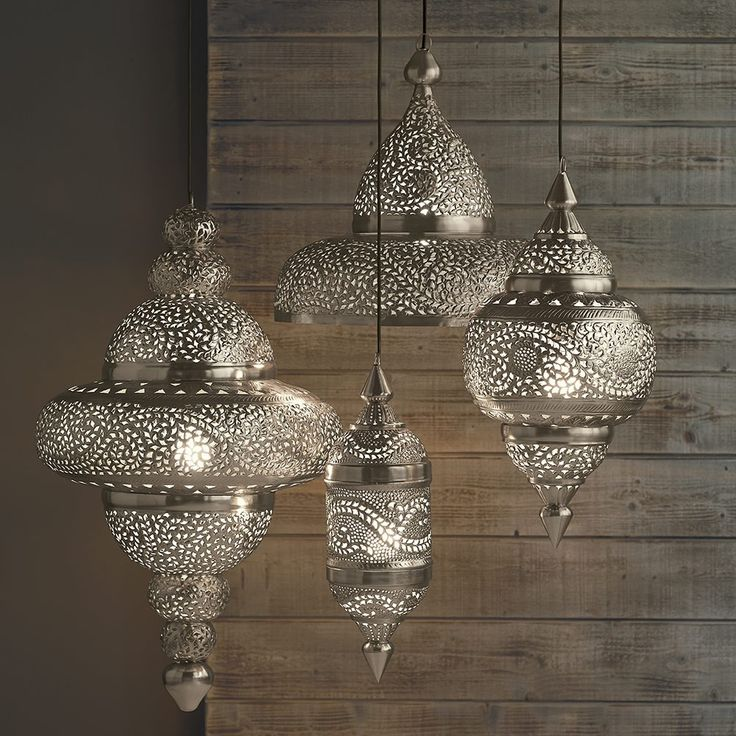 Moroccan Hanging Lamp Collection - Silver Finish | VivaTerra
