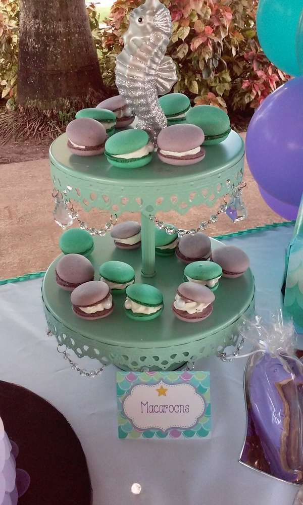 Macaron oysters at a mermaid birthday party! See more party planning ideas at CatchMyParty.com!
