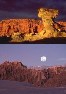 """El Parque Provincial Ischigualasto, o Valle de la Luna es sin duda una de las mas espectaculares maravillas que brinda Argentina. Su nombre proviene de una palabra quechua que significa: """" Sitio donde se posa la luna""""."""