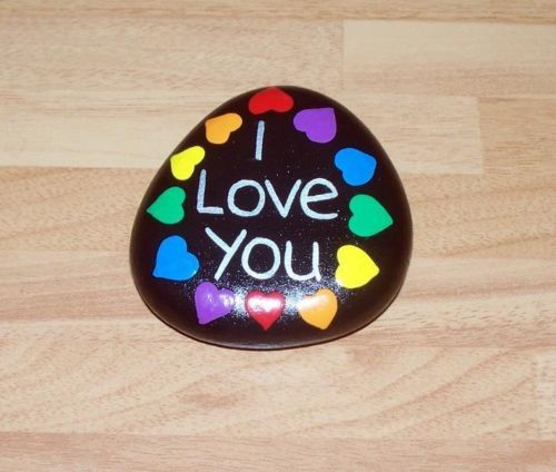 Hand painted pebble, stone, rock, birthday gift, keepsake, I Love You, hearts | eBay