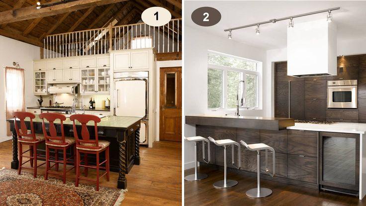 Deux comptoirs lunch, deux ambiances bien différentes! Êtes-vous plutôt champêtre (1) ou moderne (2)?