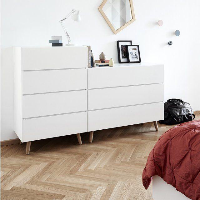 """<p>Commodes """"Lugano"""", design Morten Georgsen, deux dimensions H118,5 x L77 x P46,5 et H93 x L115,5 x P48,5 cm, laqué blanc mat/chêne, disponible dans différentes couleurs, 989 et..."""