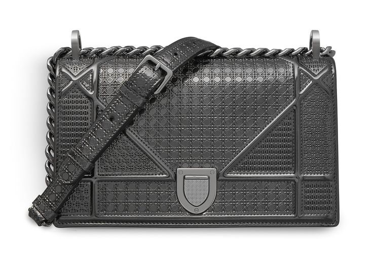 Christian Dior SMALL DIORAMA BAG IN ONYX BLACK METALLIC CALFSKIN