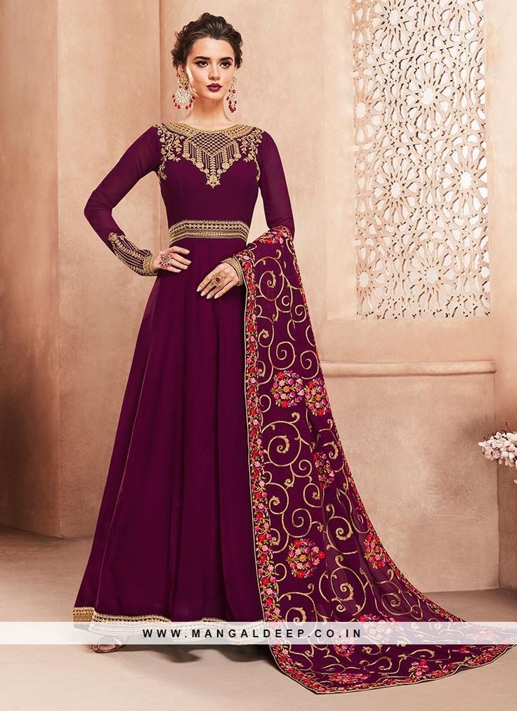 Wedding Function Wear Purple Color Fancy