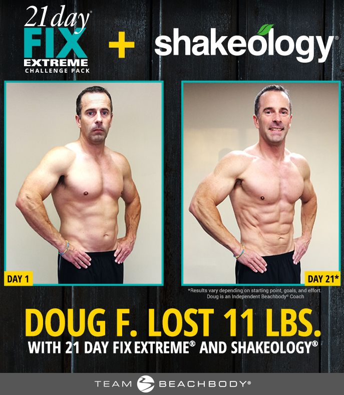 21 Day Fix Extreme results - Doug lost 11 pounds in 21 days with the 21 Day Fix Extreme workout programs and with the Shakeology superfood shake! http://www.onesteptoweightloss.com/21-day-fix-vs-21-day-fix-extreme #15LBWeightLoss