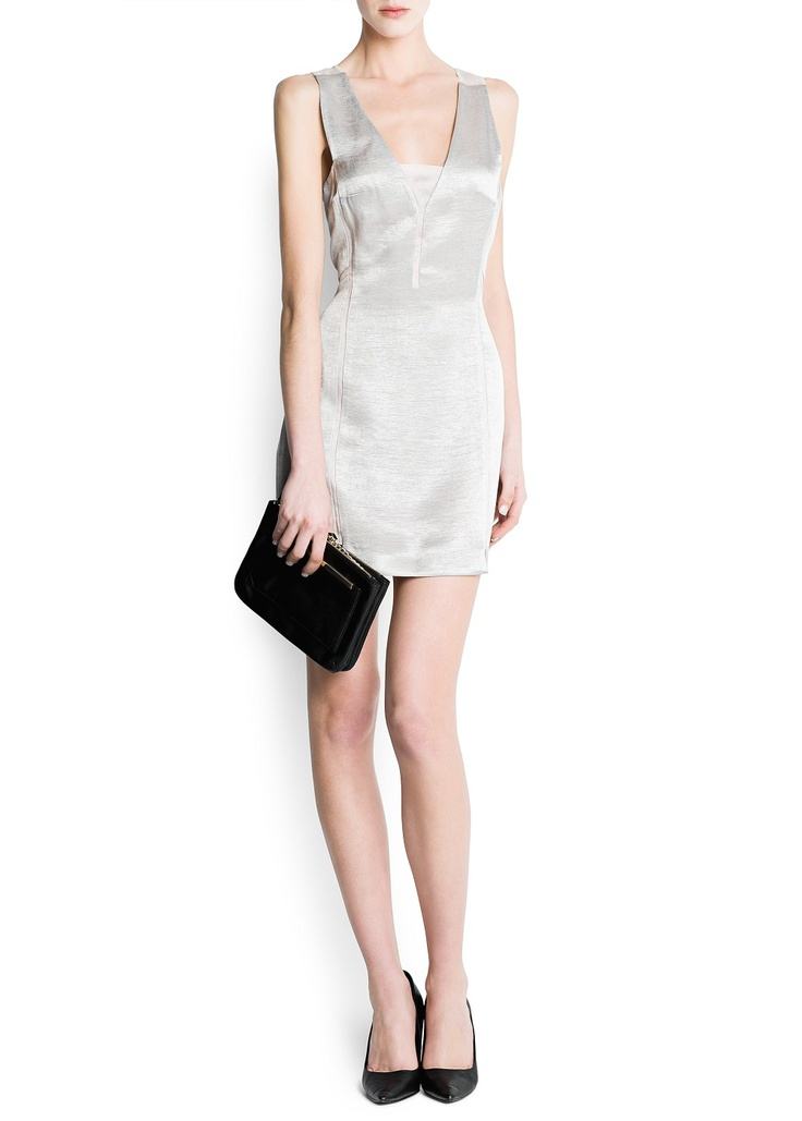 MANGO - KLEDING - Metallic jurk met organza paneel