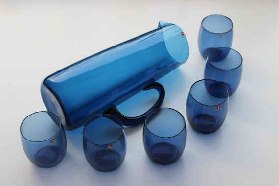 Six Tumblers and a Pitcher Erkki Vesanto by FinnishVintageGlass