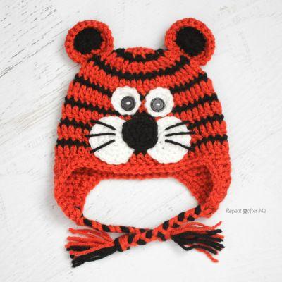 Crochet Tiger Hat Pattern @RepeatCrafterMe.com