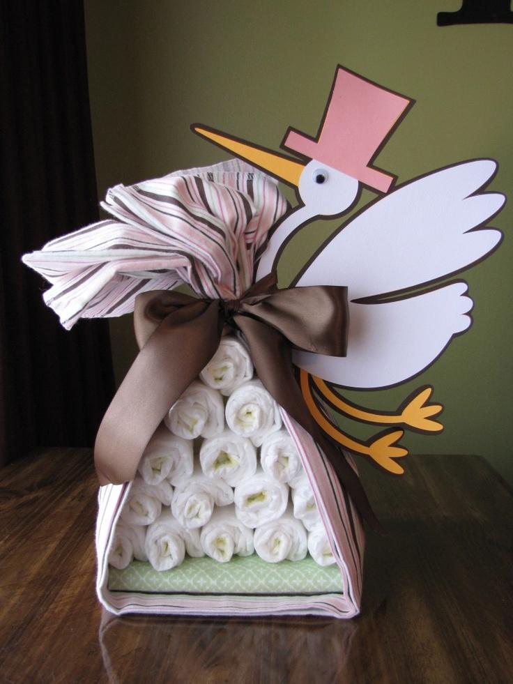 Paquete de pañales de la cigüeña.  #DecoracionBabyShower