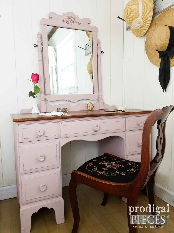 Diy Furniture : Vintage Dressing Table with Needlepoint Chair in Tea Rose Pink by Prodigal Piece
