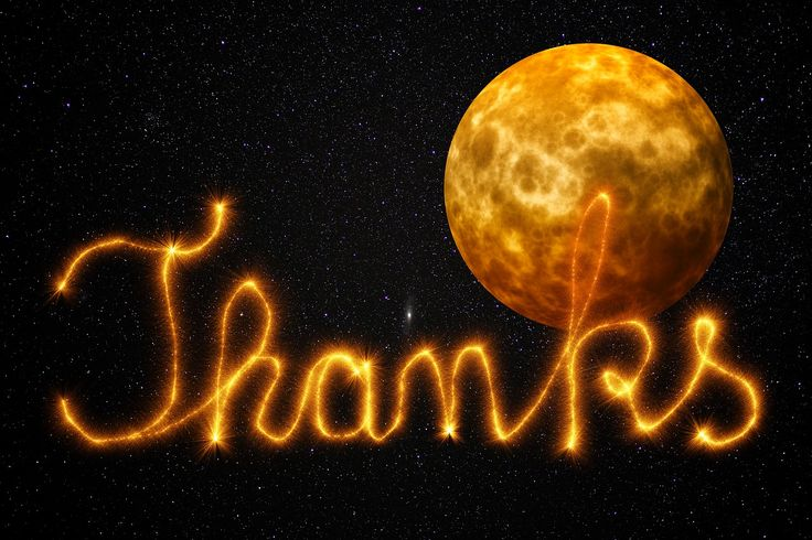 Thank You, All, Space, Star, Night, Night Sky, Moon