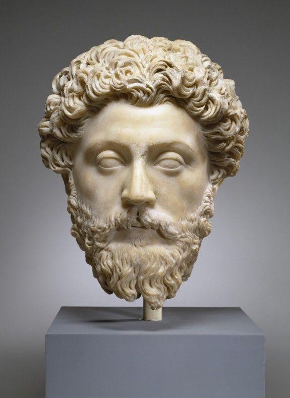 Emperor Marcus Aurelius, Roman statue (marble), 2nd century AD, (Walters Art Museum, Baltimore).