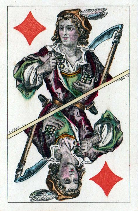 """Vier Jahreszeiten""/Seasons (52 cards), 1859 designed by Josef Surch (1811-1877), ""Piatnik"" (Austria), dimension 59x91 mm; gold edges, but bottom is silver; Braun 4660 - poker playing cards, vintage playing cards, deck of cards, card deck, unique playing cards, art of play cards, design play cards, cool playing cards, cardistry, jugando a las cartas, karty do gry, игральные карты, винтажные игральные карты, карты"