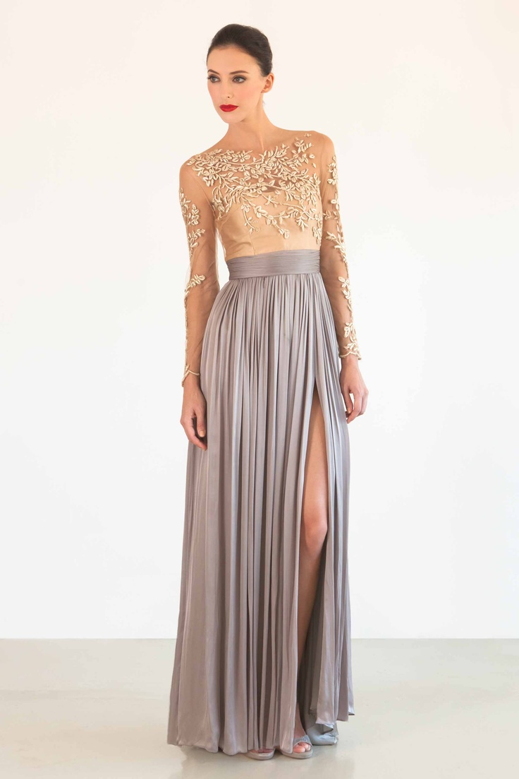 sheer illusion neckline and sleeves champagne gold details flowing maxi hem and dramatic slit: Long Dresses, Formal Dresses, Spring Summer, Gowns, Gorgeous Dress, Catherine Zeta-Jon, Catherinedean, Stylish Dresses, Catherine Dean Dresses