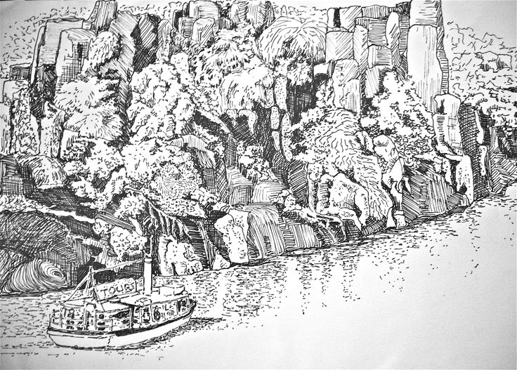 Drawing. Pen and ink sketch to define markings on trees and the rocks of the Cataract Gorge. Artwork done by Marilyn Theisel