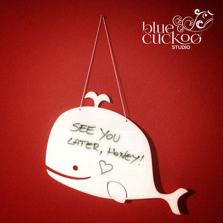 White board, message board, shaped, whale, custom made, home decor, kitchen di bluecuckoostudio su Etsy