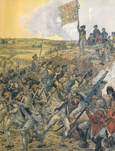 """""""French Troops Storming Redoubt-9"""".  Siege of Yorktown. * American Revolutionary War *  (by Onfroy de Breville)."""