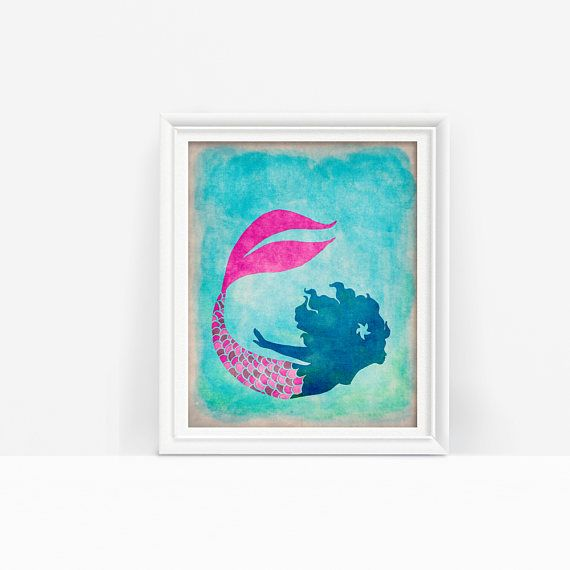 This printable mermaid with a lovely pink tail is a lovely touch for any marine or under the sea decor! Just download, print, and hang #mermaidart #underthesea #mermaidtail