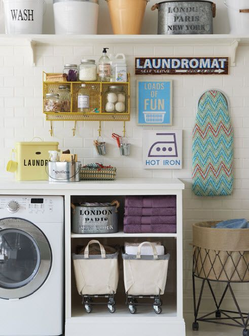 Organized. Colorful. Happy. A room this pretty might make us even want to do laundry! #organize #homegoodshappy