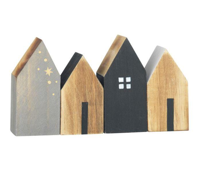 Set (4) houten huisjes Madam Stoltz